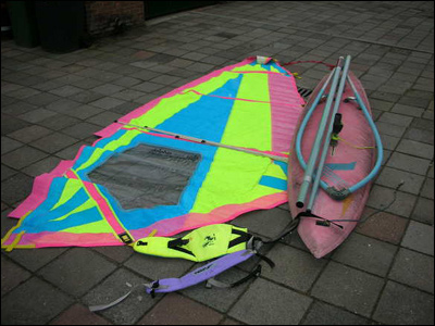 windsurfplank beginner materiaal troep